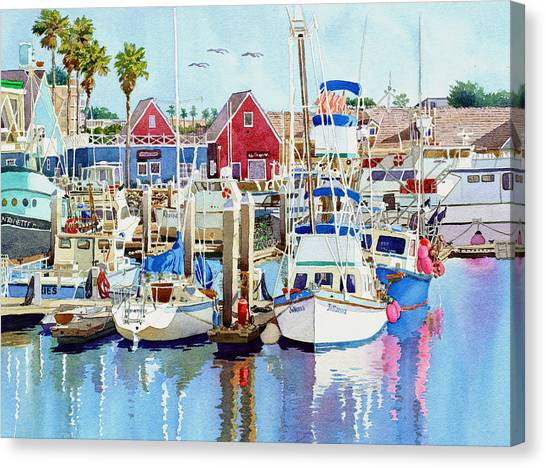 Fishing Boats Canvas Print - Oceanside California by Mary Helmreich