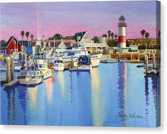 Dock Canvas Print - Oceanside Harbor At Dusk by Mary Helmreich
