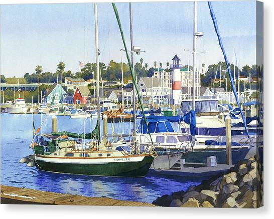 Fishing Boats Canvas Print - Oceanside Harbor by Mary Helmreich