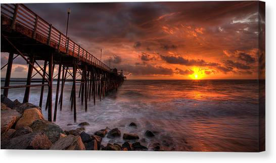 Big Sky Canvas Print - Oceanside Pier Perfect Sunset -ex-lrg Wide Screen by Peter Tellone