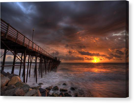 Pier Canvas Print - Oceanside Pier Perfect Sunset by Peter Tellone