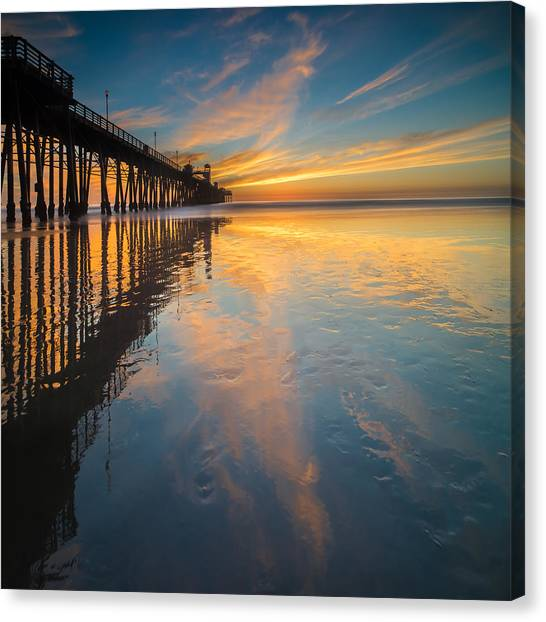 Coastal Landscape Canvas Print - Oceanside Reflections 2 Square by Larry Marshall