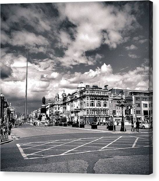 Street Scenes Canvas Print - O'connell Statue And Street. #dublin by Luis Aviles