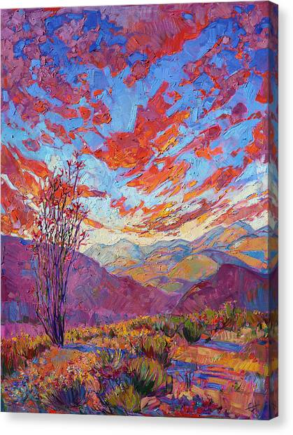 California Landscape Art Canvas Print - Ocotillo Sky by Erin Hanson