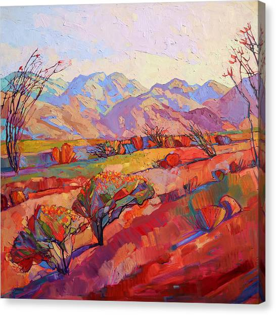 Mojave Desert Canvas Print - Ocotillo Triptych - Center Panel by Erin Hanson