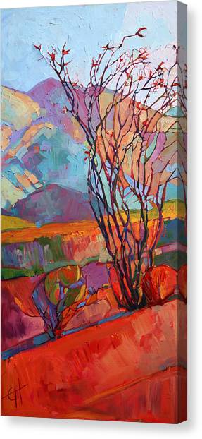Mojave Desert Canvas Print - Ocotillo Triptych - Left Panel by Erin Hanson