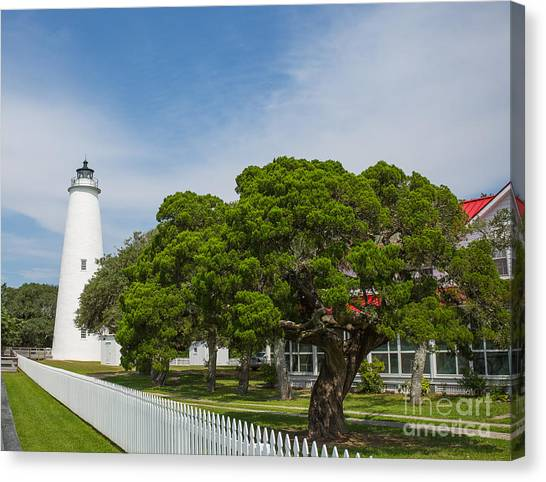 Ocracoke Lighthouse And Light Keeper's House Canvas Print