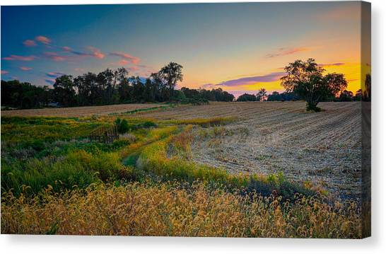October Evening On The Farm Canvas Print