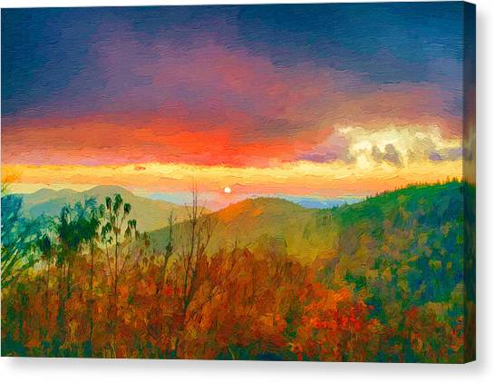 October Sunrise Painting On The Blue Ridge Parkway Canvas Print