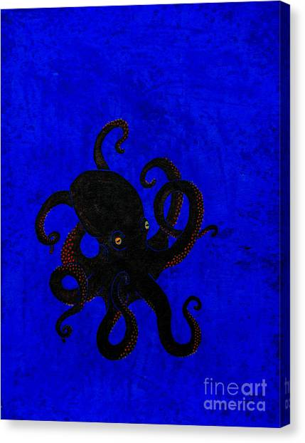 Octopus Black And Blue Canvas Print