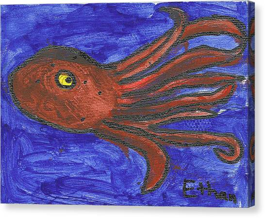 Octopus In The Deep Blue Canvas Print by Fred Hanna