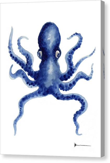 Watercolor Canvas Print - Octopus Watercolor Art Print Paniting by Joanna Szmerdt