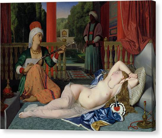 Slavery Canvas Print - Odalisque With Slave by Ingres