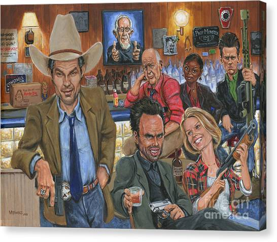 Shotguns Canvas Print - Ode To Justified by Mark Tavares