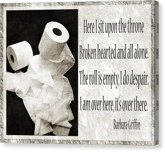 Ode To The Spare Roll Bw 2 Canvas Print