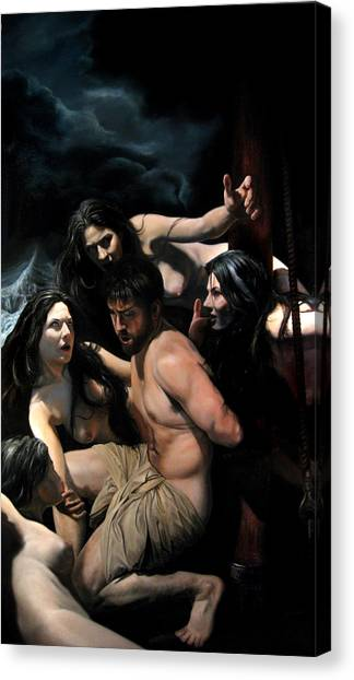 Odysseus And The Sirens Canvas Print by Eric  Armusik