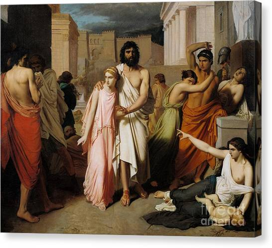 Sick Canvas Print - Oedipus And Antigone Or The Plague Of Thebes  by Charles Francois Jalabert