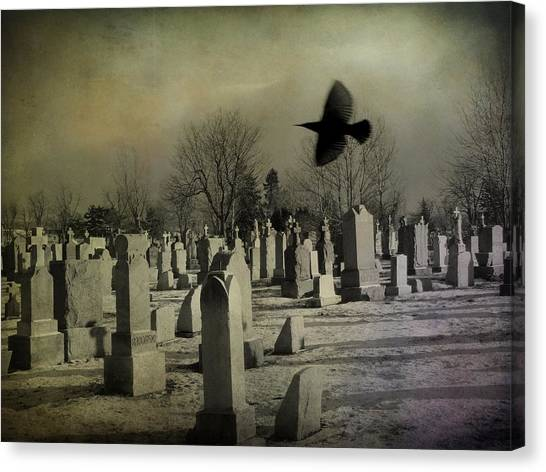 Ravens In Graveyard Canvas Print - Of A Gothic Nature by Gothicrow Images