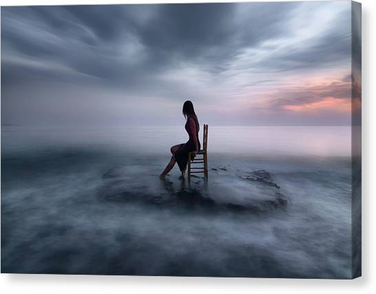 Tides Canvas Print - Of Tide And Nightfall by Maria Kaimaki