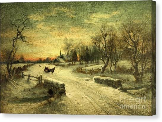 Off To Grandmas - Christmas Morning Canvas Print