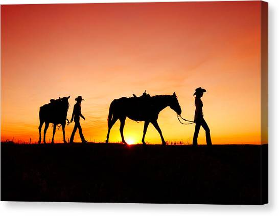 Horses Canvas Print - Off To The Barn by Todd Klassy