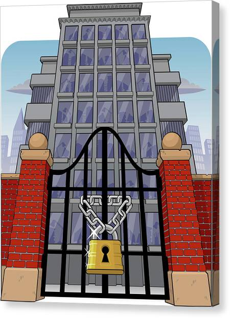 Fraternity Canvas Print - Office Building With Main Gate Locked by Fanatic Studio / Science Photo Library