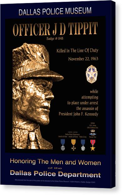 Officer J D Tippit Memorial Poster Canvas Print by Robert J Sadler