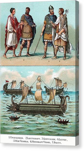 Centurion Canvas Print - Officers And Ships Of Ancient Roman by Vintage Images