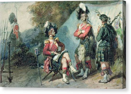 Bagpipes Canvas Print - Officers Of The 79th Highlanders At Chobham Camp In 1853 by Eugene-Louis Lami