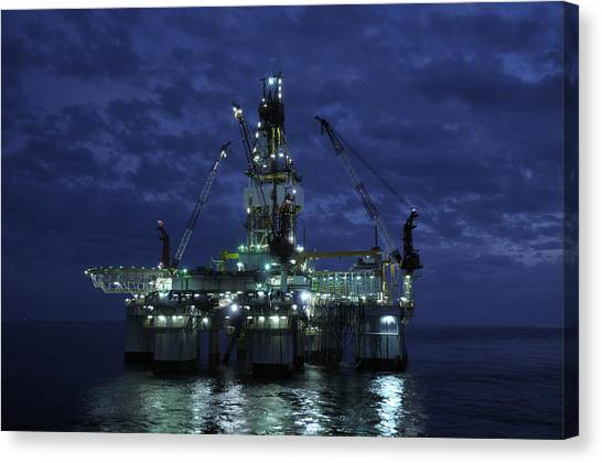 Offshore Oil Rig At Night Canvas Print