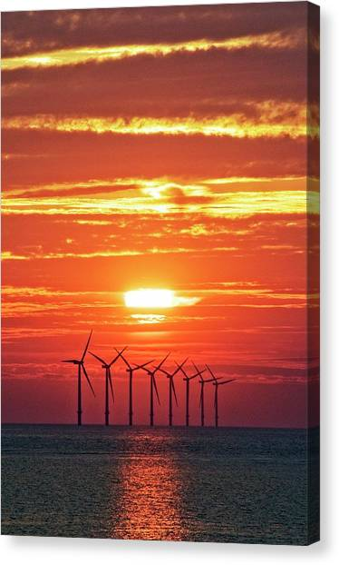 Wind Farms Canvas Print - Offshore Wind Turbines At Sunset by Crown Copyright/health & Safety Laboratory Science Photo Library