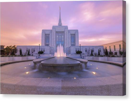 City Sunsets Canvas Print - Ogden Temple I by Chad Dutson