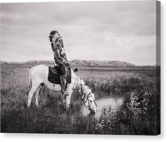 White Horse Canvas Print - Oglala Indian Man Circa 1905 by Aged Pixel