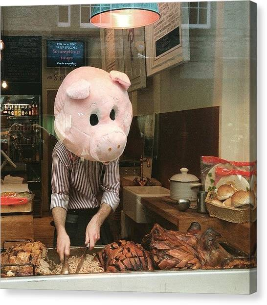 Roast Canvas Print - Oh A Pig In A Poke by Ludovic Farine