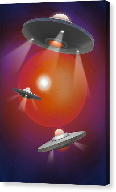 Ufo Canvas Print - Oh - I Believe 4 by Mike McGlothlen