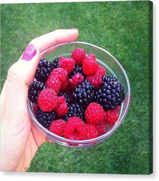 Raspberries Canvas Print - Oh Nyami😍🍓 #100happydays #day85 by Gokler Krisztina