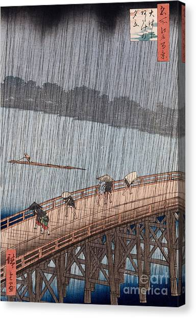 Rain Canvas Print - Ohashi Sudden Shower At Atake by Ando Hiroshige