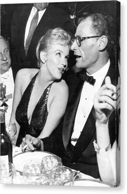 Monroe Canvas Print - Marilyn Monroe And Arthur Miller by Retro Images Archive