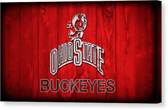 Bachelor Canvas Print - Ohio State Buckeyes Barn Door Vignette by Dan Sproul