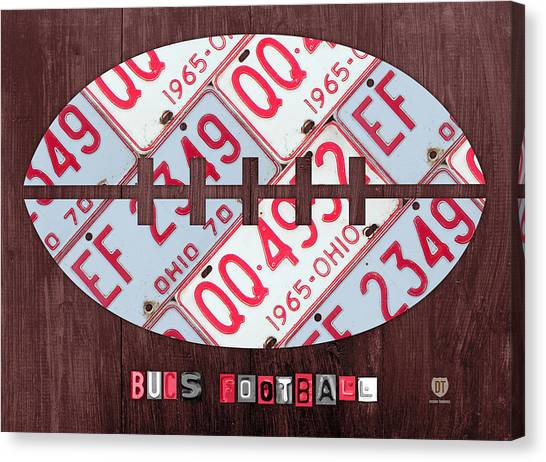 Ohio State University Canvas Print - Ohio State Buckeyes Football Recycled License Plate Art by Design Turnpike
