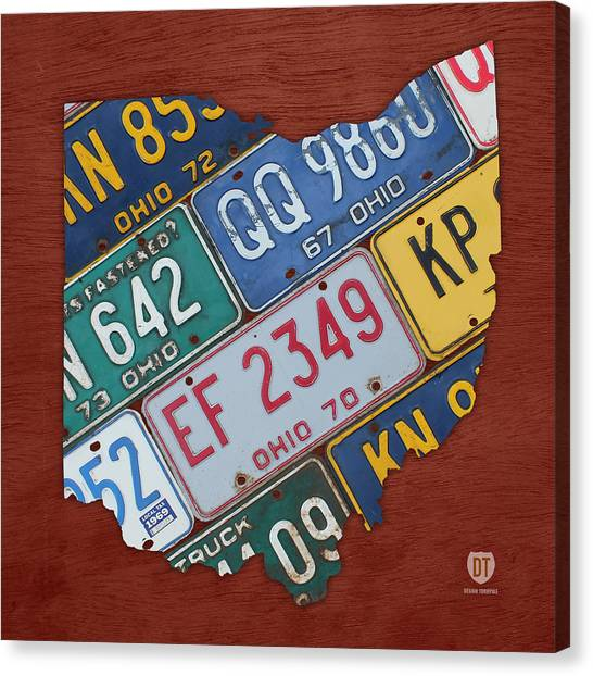 Ohio University Canvas Print - Ohio State Map Made Using Vintage License Plates by Design Turnpike