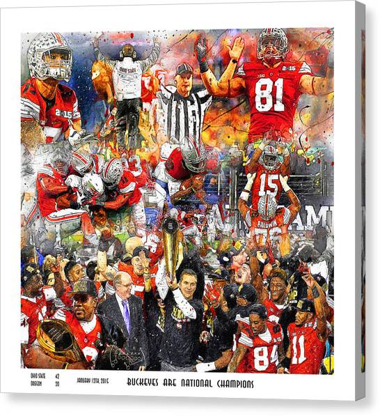 Big Ten Canvas Print - Ohio State National Champions 2015 by John Farr