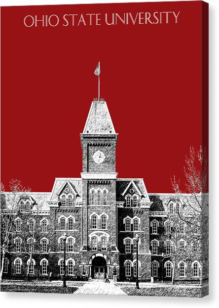 Graduation Canvas Print - Ohio State University - Dark Red by DB Artist