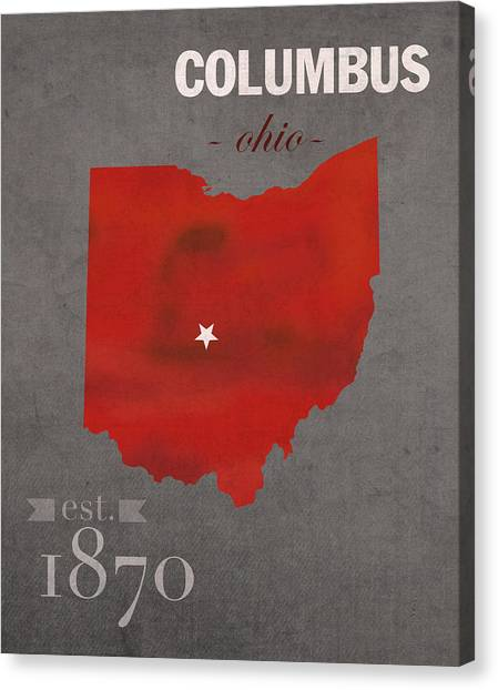 Ohio University Canvas Print - Ohio State University Buckeyes Columbus Ohio College Town State Map Poster Series No 005 by Design Turnpike