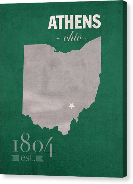Ohio University Canvas Print - Ohio University Athens Bobcats College Town State Map Poster Series No 082 by Design Turnpike
