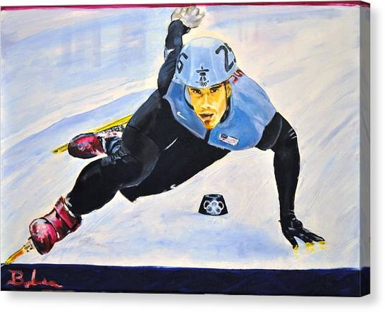 Speed Skating Canvas Print - Ohno On The Run by Ruben Barbosa