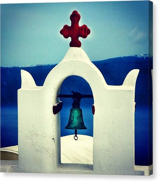 Red Cross Canvas Print - Oia, Red Cross Church, Santorini by Carlos Macia Perez