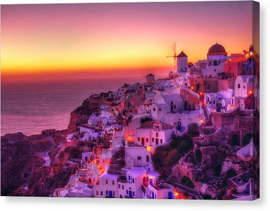 Oia Sunset Canvas Print