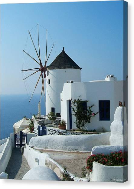 Oia Windmills Canvas Print