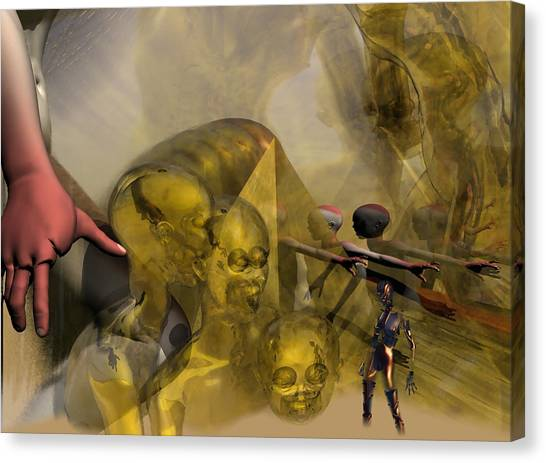 Oil Child Abduction To Pleiades #49_hr Canvas Print by Stephen Donoho